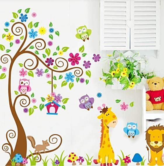Vinilo árbol, jirafa