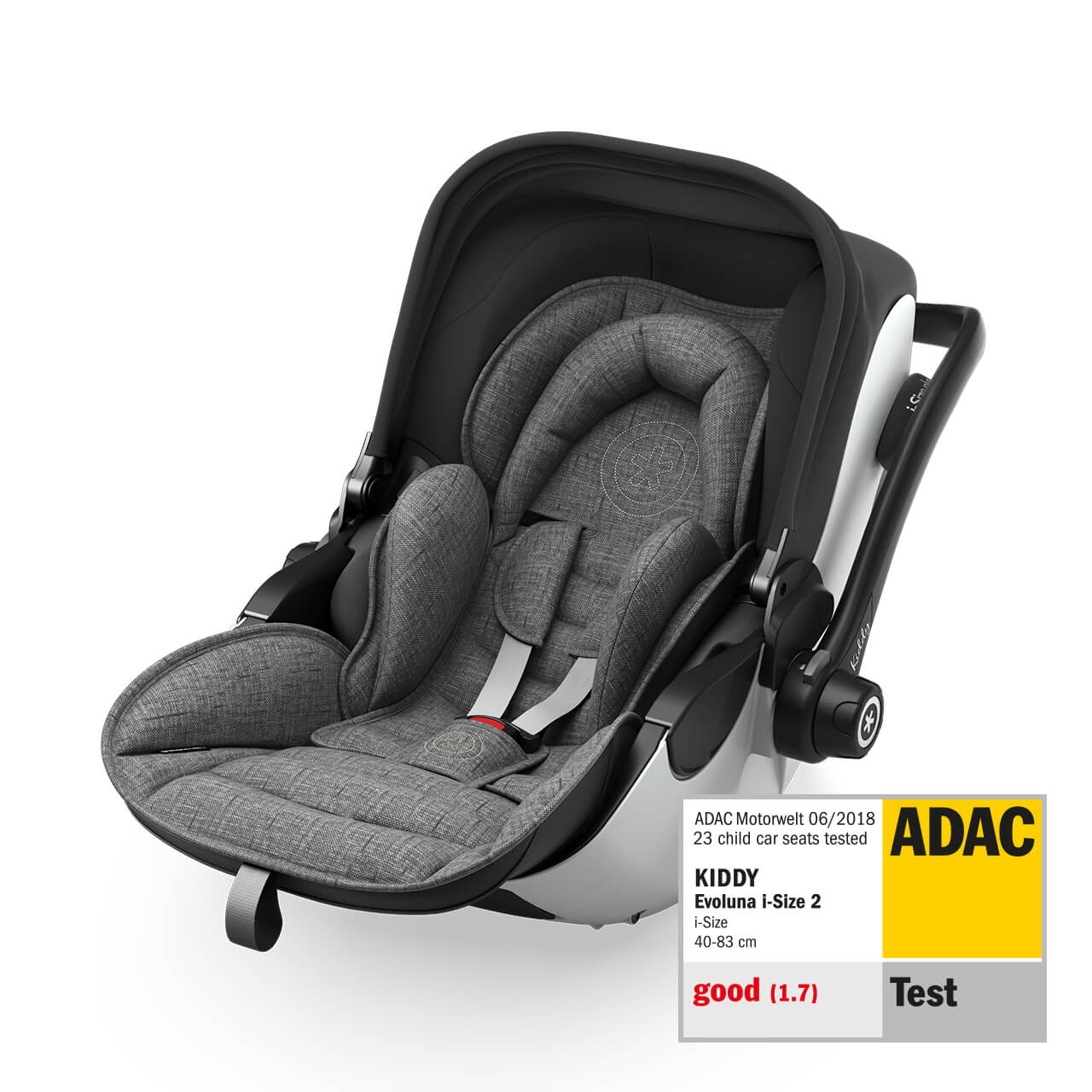 Kiddy Evoluna i-Size 2+ base isofix GREY MELANGE