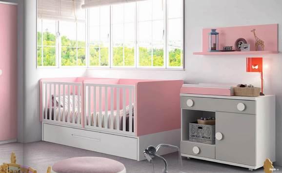 Cuna GEMELAR con nido, convertible a cama 90x190 c/escritorios