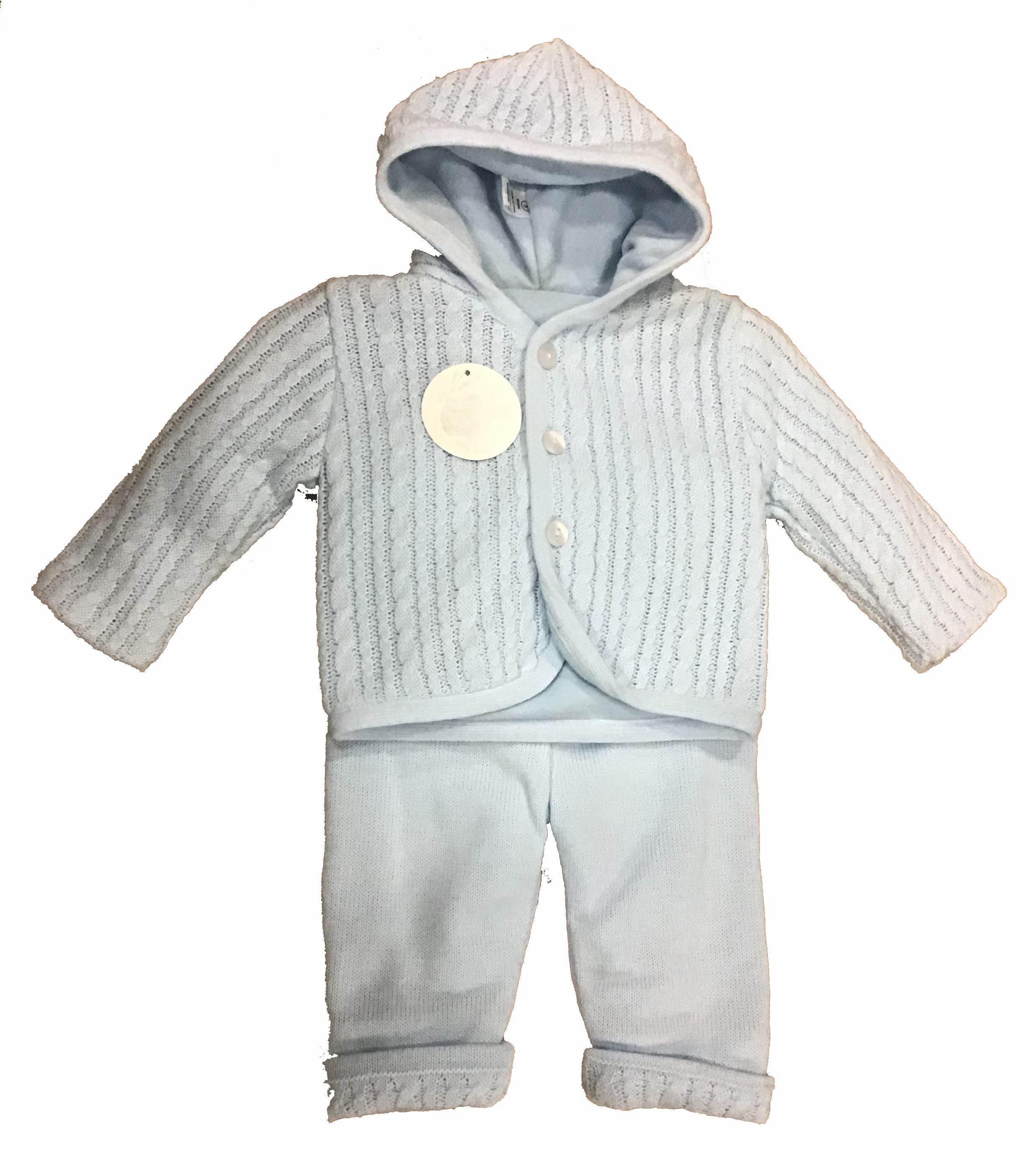 conjunto lana 2p ochos azul