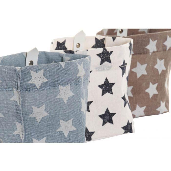 Conjunto 3 cestas de algodón 14x14x18,5