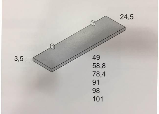 Estante pared con 2 soportes pekicano 98x24,5x3,5cm