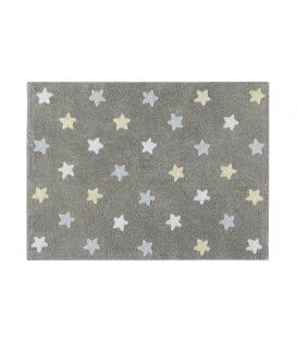 alfombra lavadora estrellas tricolo  gris azul
