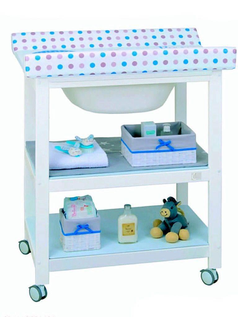 bañera cambiador 2 estantes. Lacada blanco PERSONALIZADA
