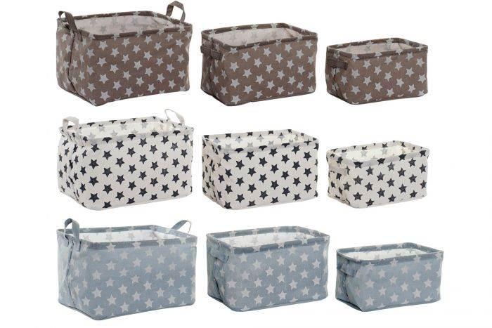 Conjunto 3 cestas de algodón 35x25x22