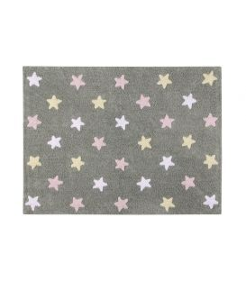alfombra lavadora estrellas tricolo gris rosa