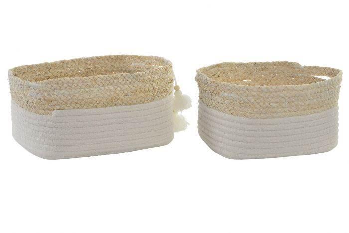 Cesta algodón y fibra pompom