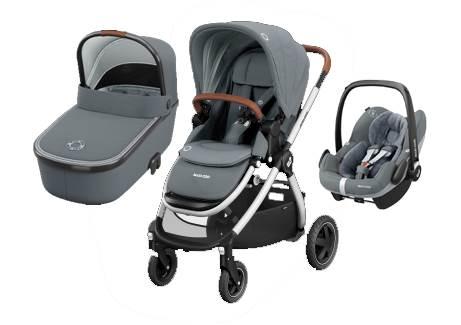 Maxicosi ADORRA coche trio con cuco ORIA y PEBBLE PRO  I-Size Essential Grey