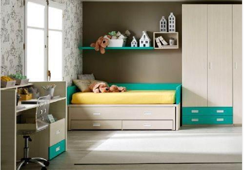 Cuna de 70x140 convertible en cama de 90x190 con cama nido for Cama con cajones 90x190