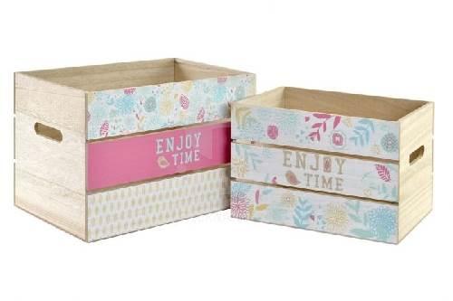 Caja de madera decorada flores