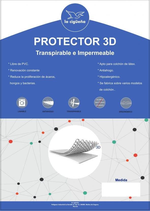 Colchón LATEX con protector 3D 70x140cm