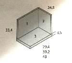 estante con trasera y costado 39x24x33cm