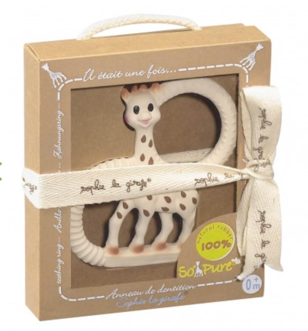 Anillo de dentición SO PURE Sophie la girafe (de goma natural) Versión extra blanda