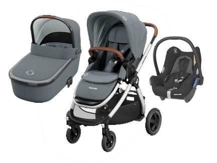 Maxicosi ADORRA coche trio con cuco ORIA y CABRIOFIX  Essential Grey