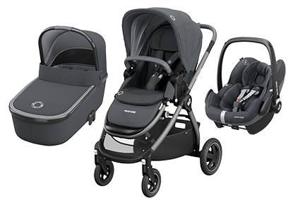Maxicosi ADORRA coche trio con cuco ORIA y PEBBLE PRO  I-Size Essential Graphite