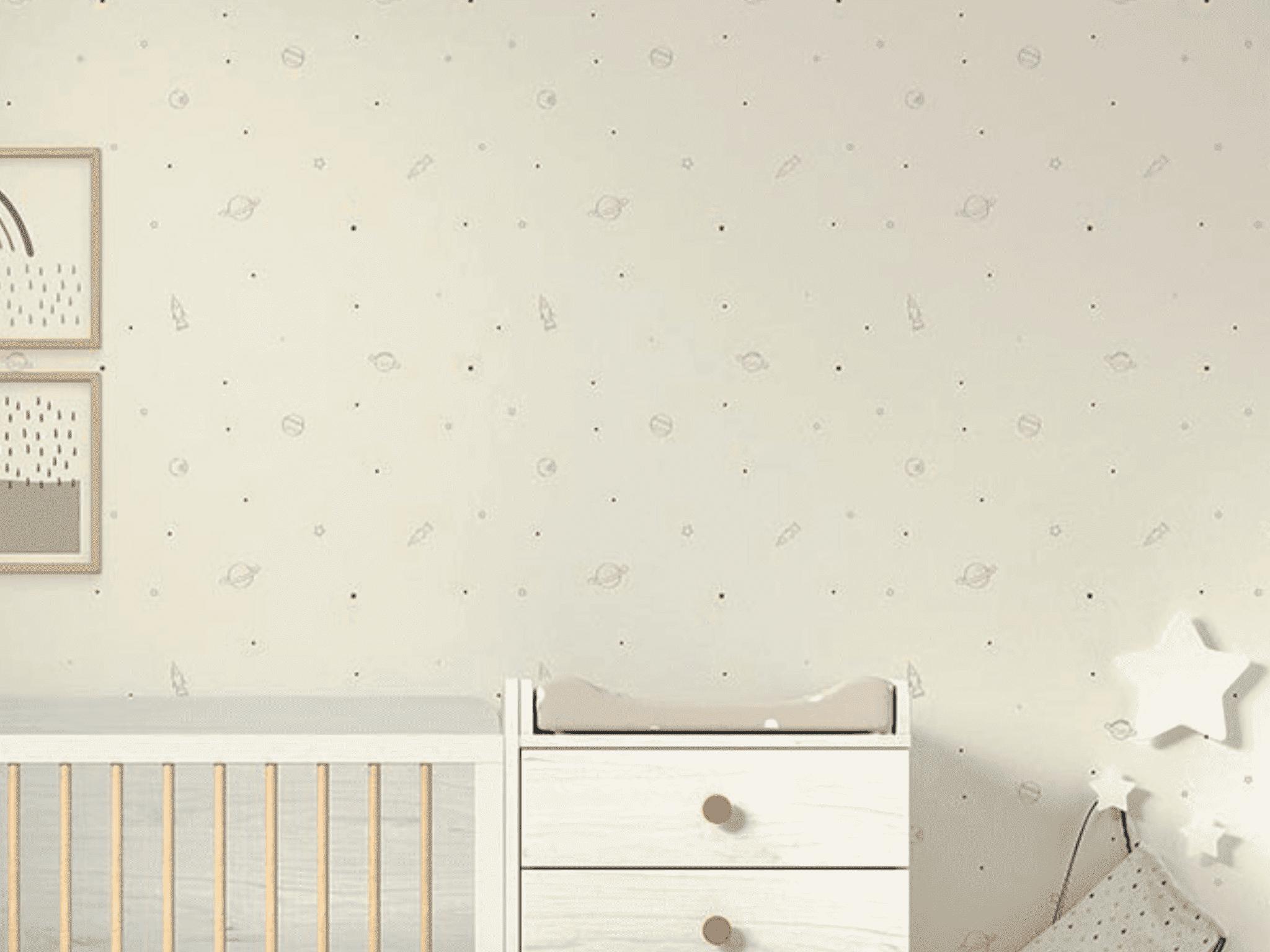 Papel pintado decorativo ESPACIO fondo blanco