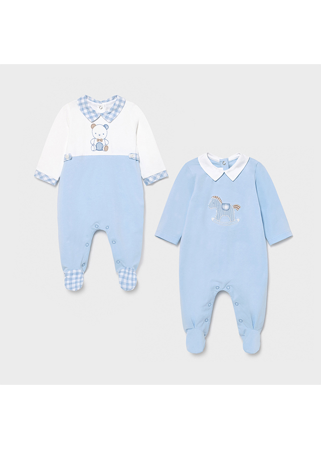 Pijama  entero caballo y oso azul