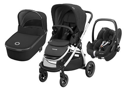 Maxicosi ADORRA coche trio con cuco ORIA y PEBBLE PRO  I-Size Essential Black