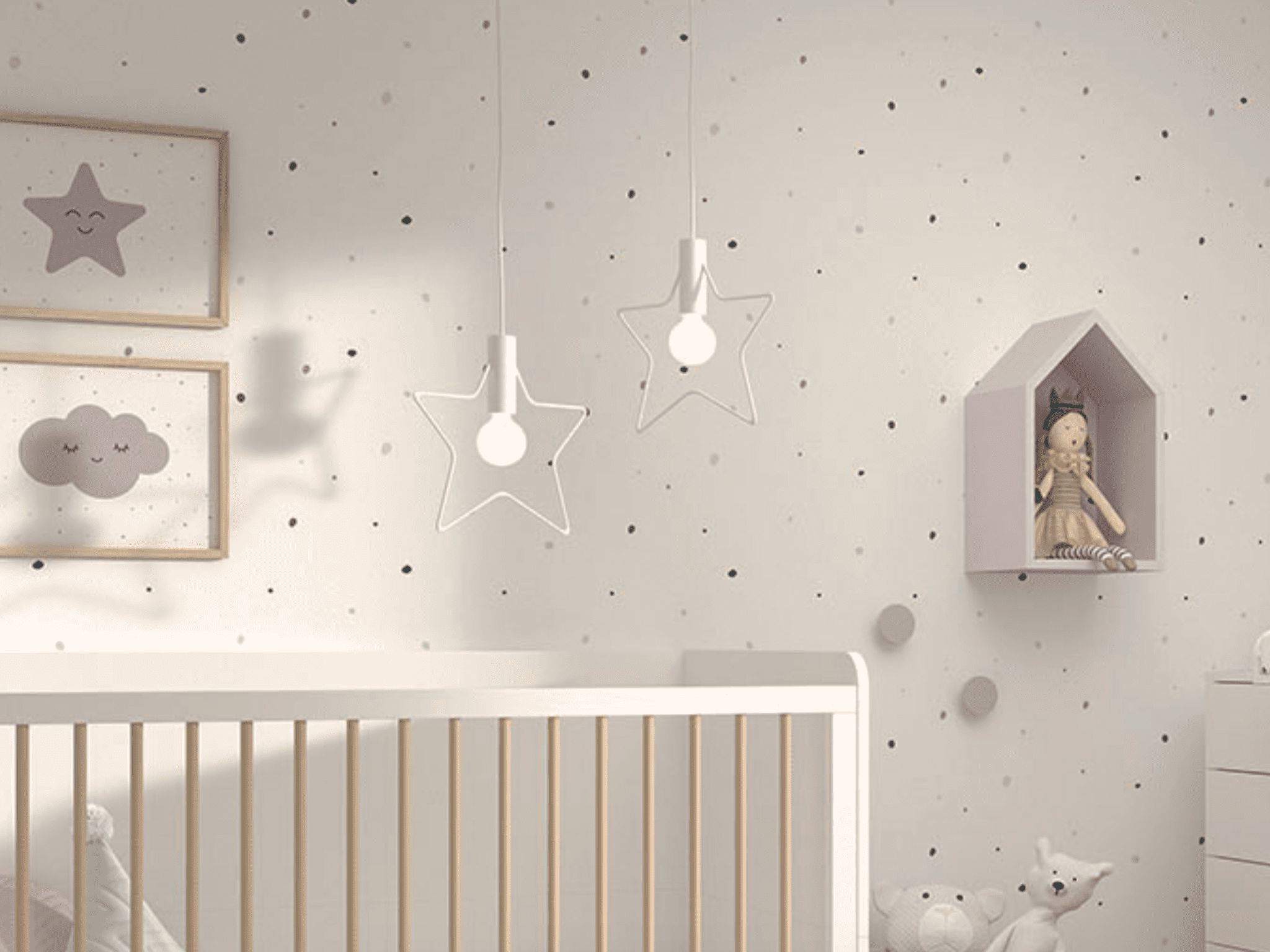 Papel pintado decorativo DOTS MINI COMBI fondo  blanco dots colores